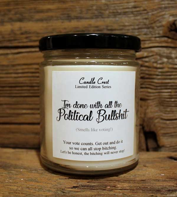 Funny Political Candles - Get out and vote - Candle Crest