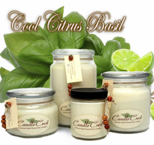Cool Citrus Basil Scented Soy Candles by Candle Crest Soy Candles Inc