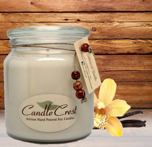 Cedarwood Vanilla Scented Candles by Candle Crest Soy Candles Inc