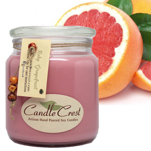 Ruby Grapefruit Scented Candles by Candle Crest Soy Candles Inc