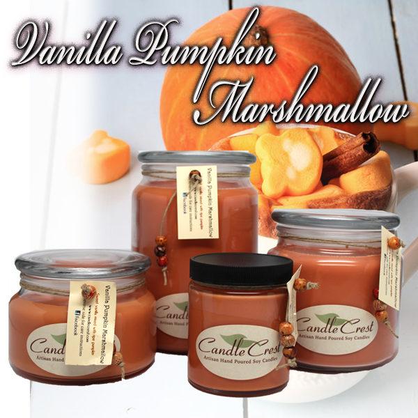 Fall Candles - Vanilla Pumpkin Marshmallow Soy Candles by Candle Crest Soy Candles Inc