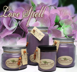 Love Spell Scented Soy Candles by Candle Crest Soy Candles Inc