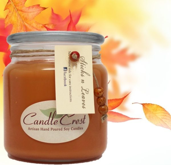 Fall Candles - Sticks n Leaves Soy Candles by Candle Crest Soy Candles Inc