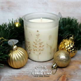 Elegant Frosted Winter Scene Holiday Candles by Candle Crest Soy Candle Inc
