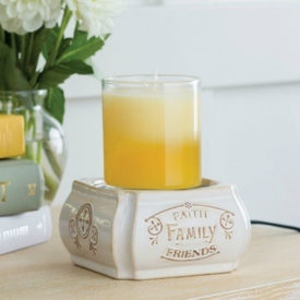 2 in 1 Candle & Tart Warmer -Faith Family Friends - Candle Crest Soy Candles Inc