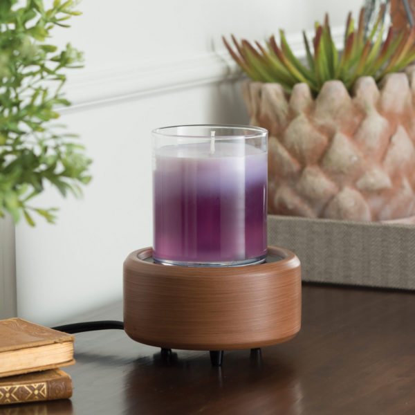 2 in 1 Candle & Tart Warmer - Pewter Walnut Candle Crest Soy Candles Inc