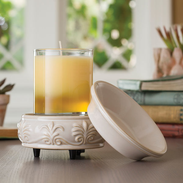 2 in 1 Candle & Tart Warmer - Sandstone- Candle Crest Soy Candles