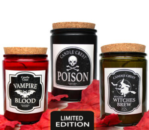 Fall Candles - Poison, Vampire Blood, Bitchin' Witches Brew - Candle Crest Soy Candles