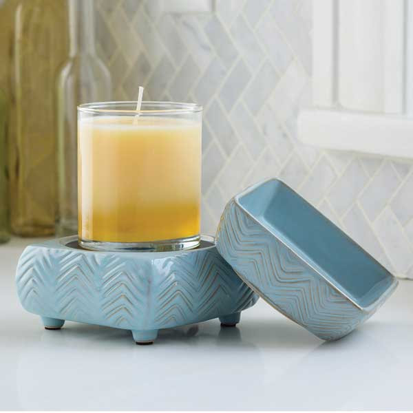 2 in 1 Candle & Tart Warmer - Light Blue Chevron - Candle Crest Soy Candles Inc