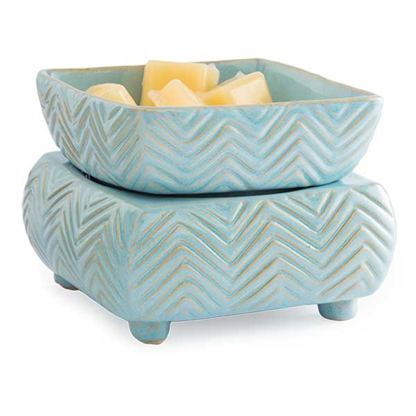 2 in 1 Candle & Tart Warmer - Light Blue Chevron - Candle Crest Soy Candles