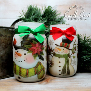 Frosted Snowman Candles by Candle Crest Soy Candles Inc