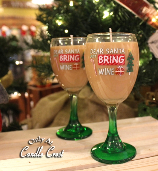 Holiday Wine Glass Candle by Candle Crest Soy Candles Inc