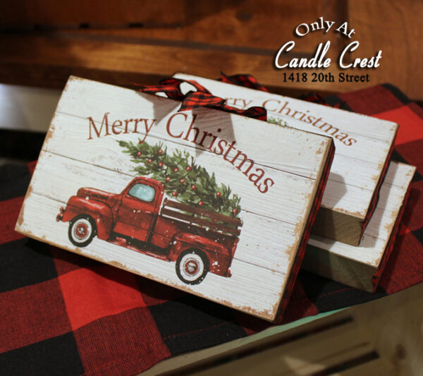 Merry Christmas Wood Sign - Candle Crest