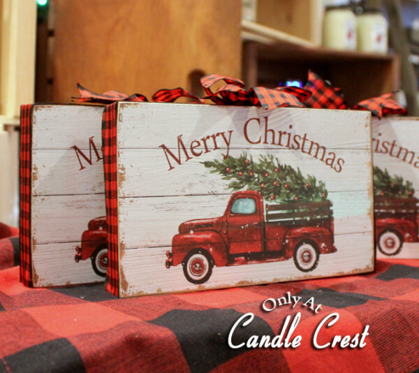 Merry Christmas Wood Signs - Candle Crest
