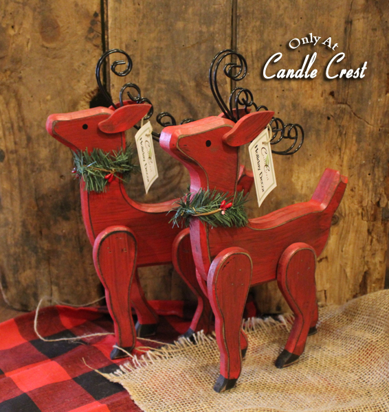 Red Wooden Reindeer - Candle Crest