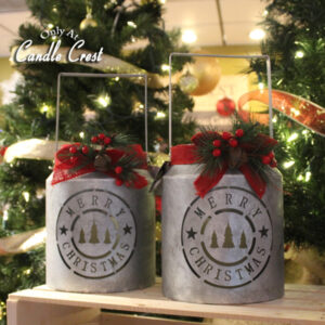 Vintage Style Holiday Buckets with Candle - Candle Crest