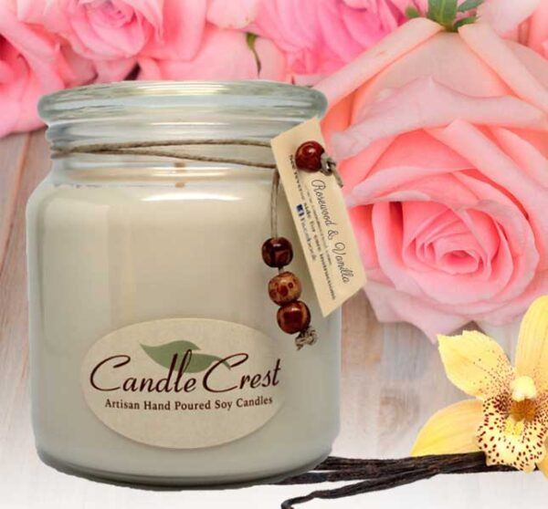 Rosewood & Vanilla Scented Soy Candles by Candle Crest